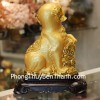 Chó vàng dựa như ý đế gỗ C018A