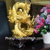 Rồng vàng cuồn phong đế gỗ C068A