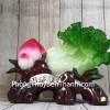 Bắp cải xanh lớn bên đào tiên đỏ đế gỗ LN073