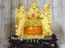 Tam đa phước lộc thọ vàng kim sa bên hũ vàng lưu ly LN112