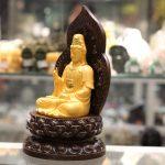c138a phat quan am sa kim 1 150x150 Phật quan âm vàng sa kim đế gỗ C138A