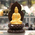 c138a phat quan am sa kim 150x150 Phật quan âm vàng sa kim đế gỗ C138A