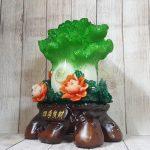 ln068 bap cai xanh mau don 150x150 Bắp cải xanh đứng lớn trên bụi mẫu đơn đỏ đế gỗ LN068
