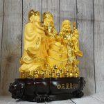 ln113 tam da sa kim vang lon 1 150x150 Tam đa phước lộc thọ vàng kim sa bên tháp nén vàng lớn LN113